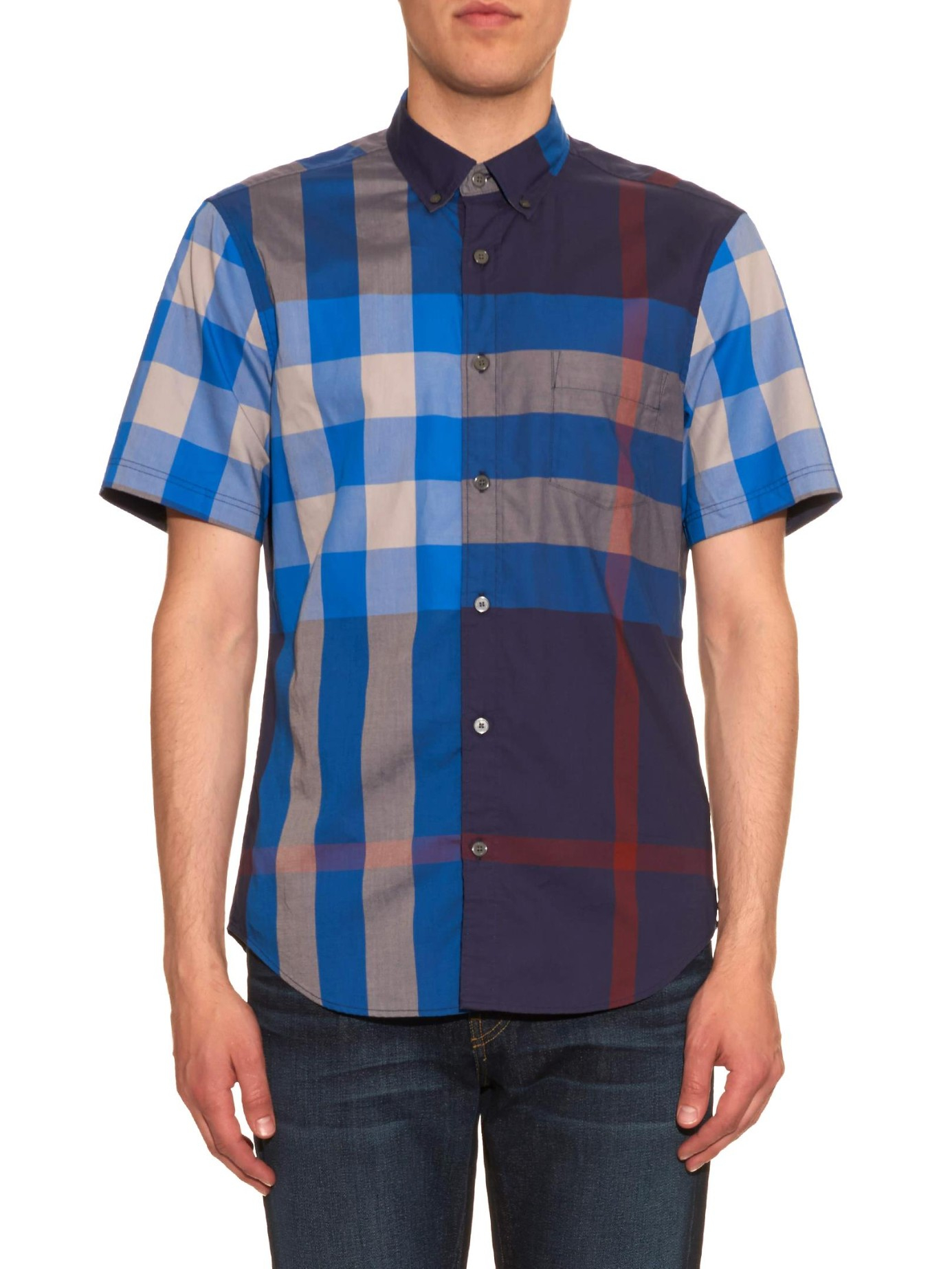 Burberry brit fred checked short sleeved shirt in blue for for Burberry brit checked shirt