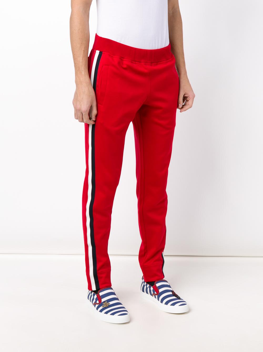 gucci striped panel track pants in red for men lyst. Black Bedroom Furniture Sets. Home Design Ideas