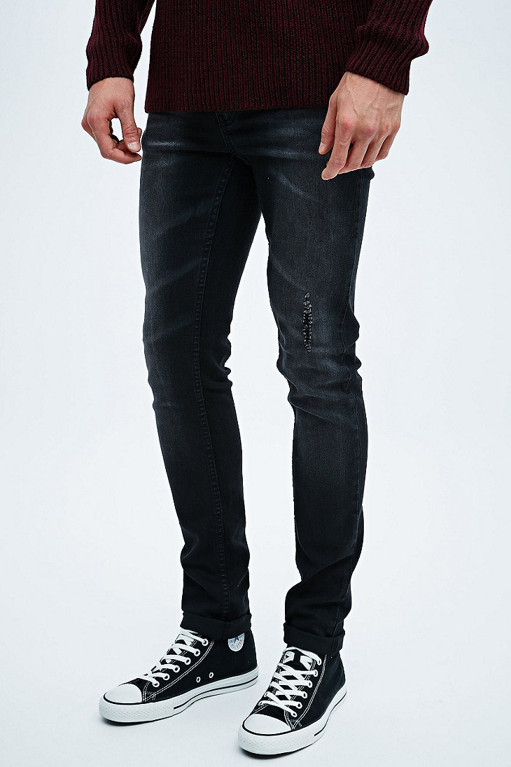 cheap monday tight throwback jeans in washed black in. Black Bedroom Furniture Sets. Home Design Ideas