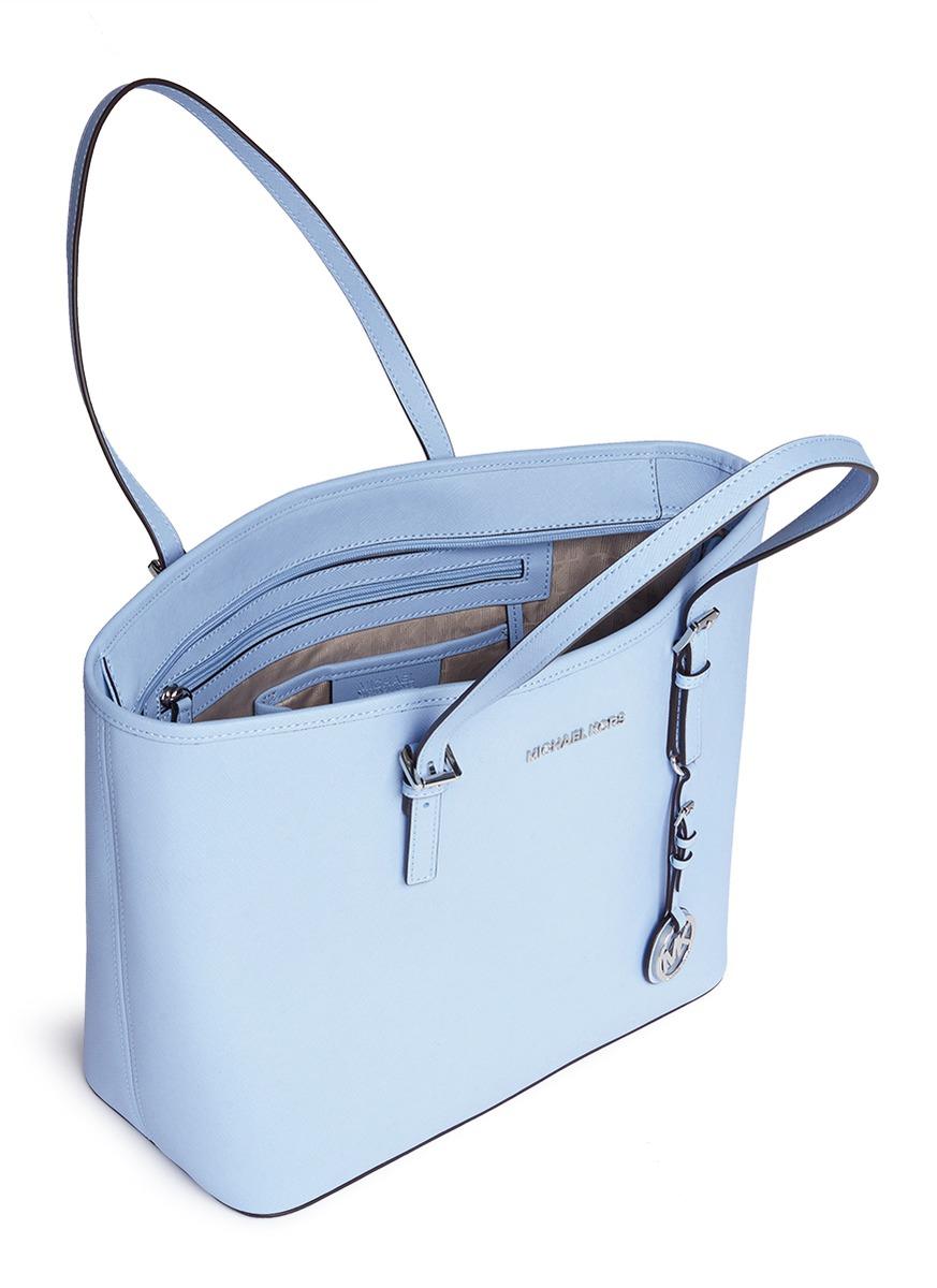 3dfcdc65de544 Michael Kors 'jet Set Travel' Saffiano Leather Top Zip Tote in Blue ...