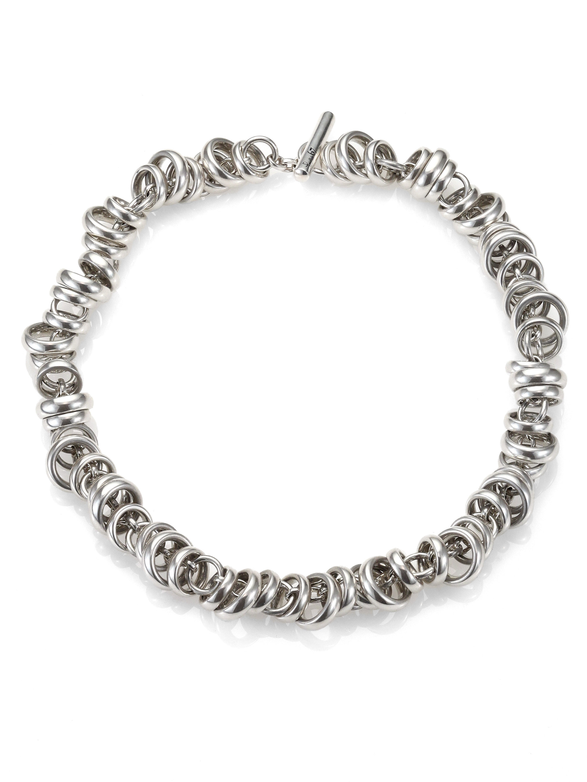 pomellato sterling silver ringed chain link toggle