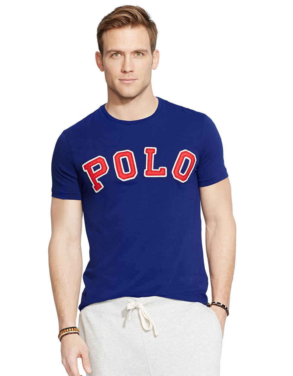 Lyst polo ralph lauren custom fit polo t shirt in blue for Polo custom fit t shirts