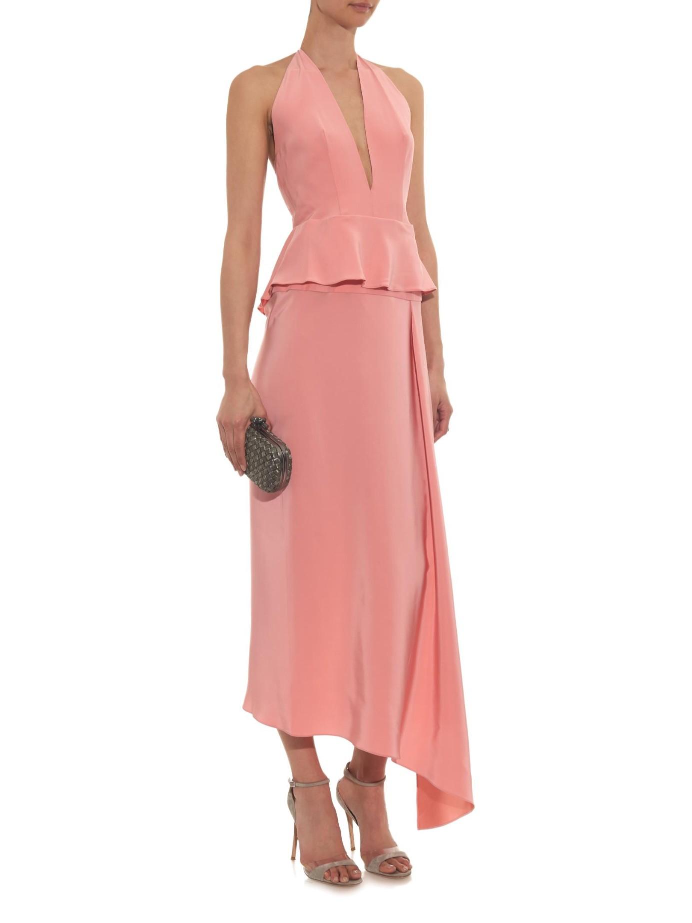 juan carlos obando petal halterneck silk charmeuse dress in pink lyst. Black Bedroom Furniture Sets. Home Design Ideas