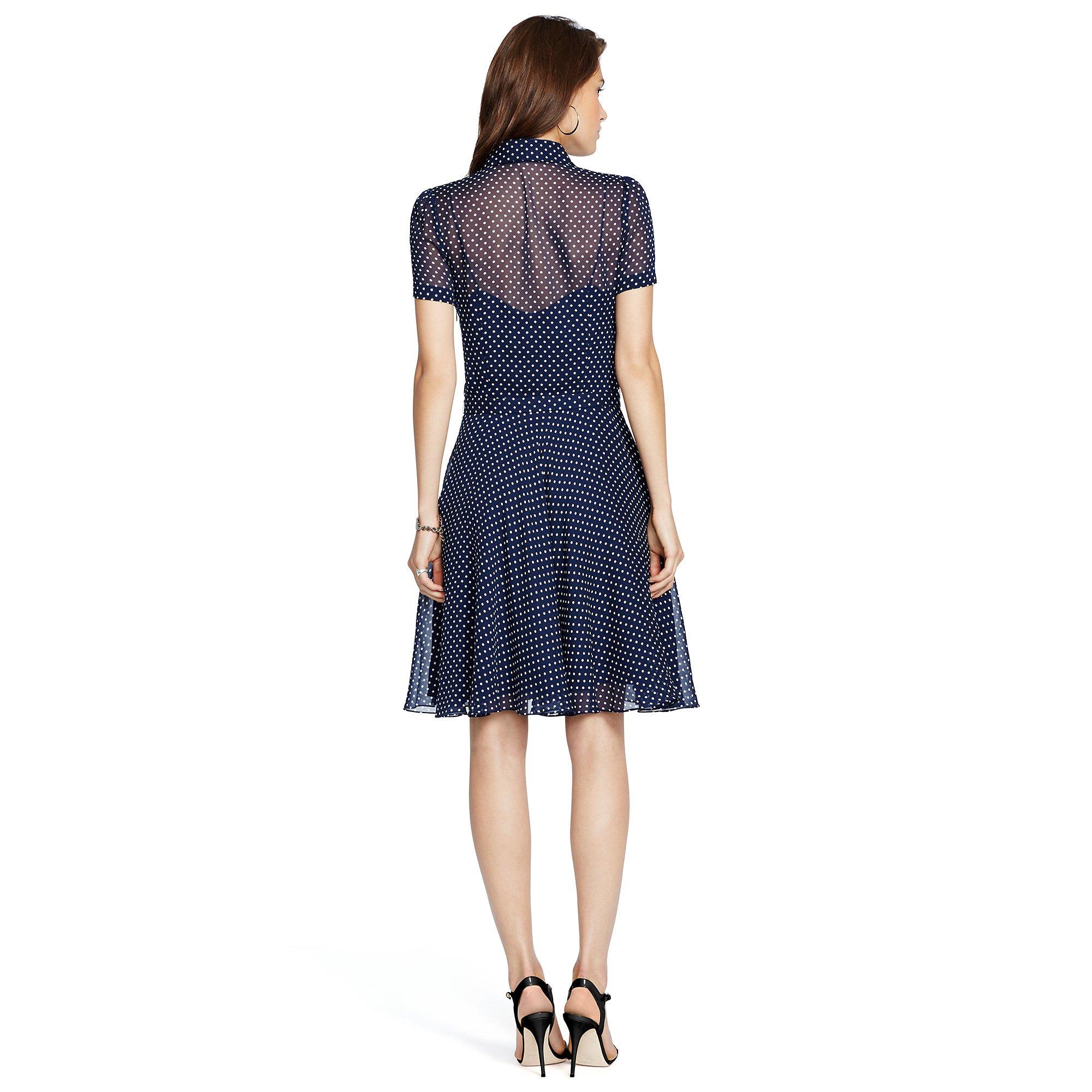 Polo Ralph Lauren Polka Dot Silk Georgette Dress In Polka