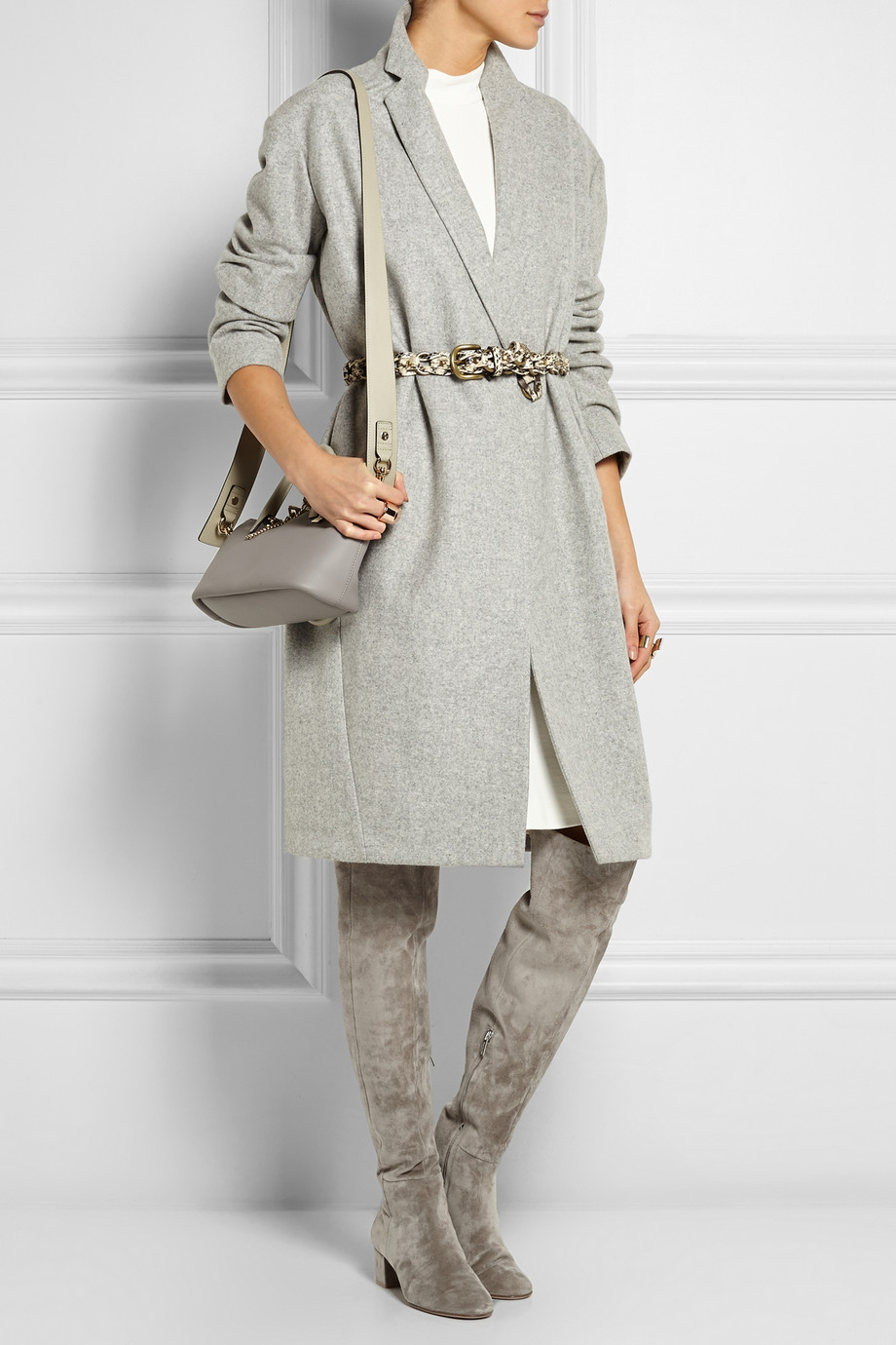 Gianvito rossi Suede Over-The-Knee Boots in Gray | Lyst