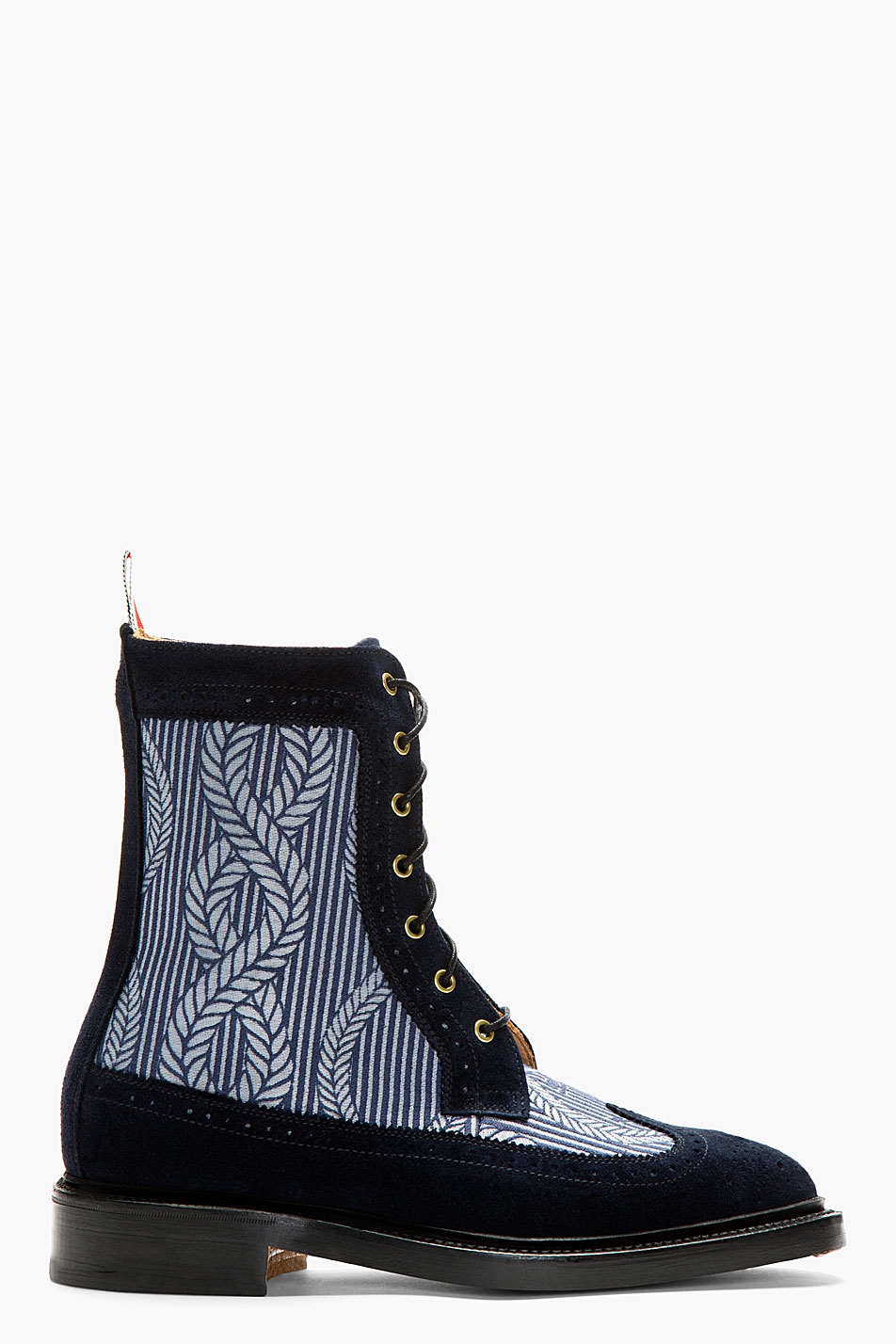 thom browne navy longwing mariner ankle boots in blue for