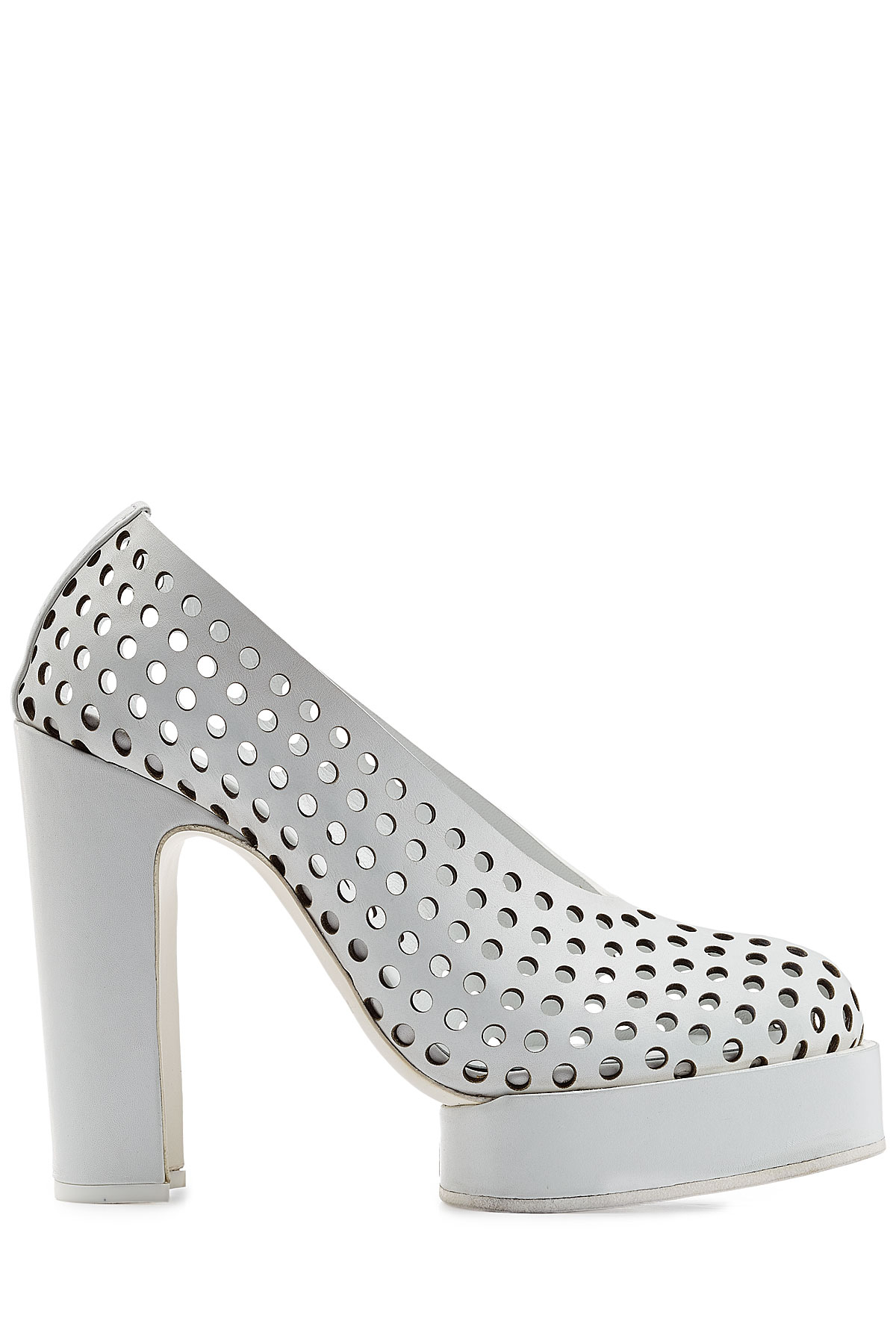 68ec102bca8 Lyst - Jil Sander Perforated Leather Platform Pumps - White in White