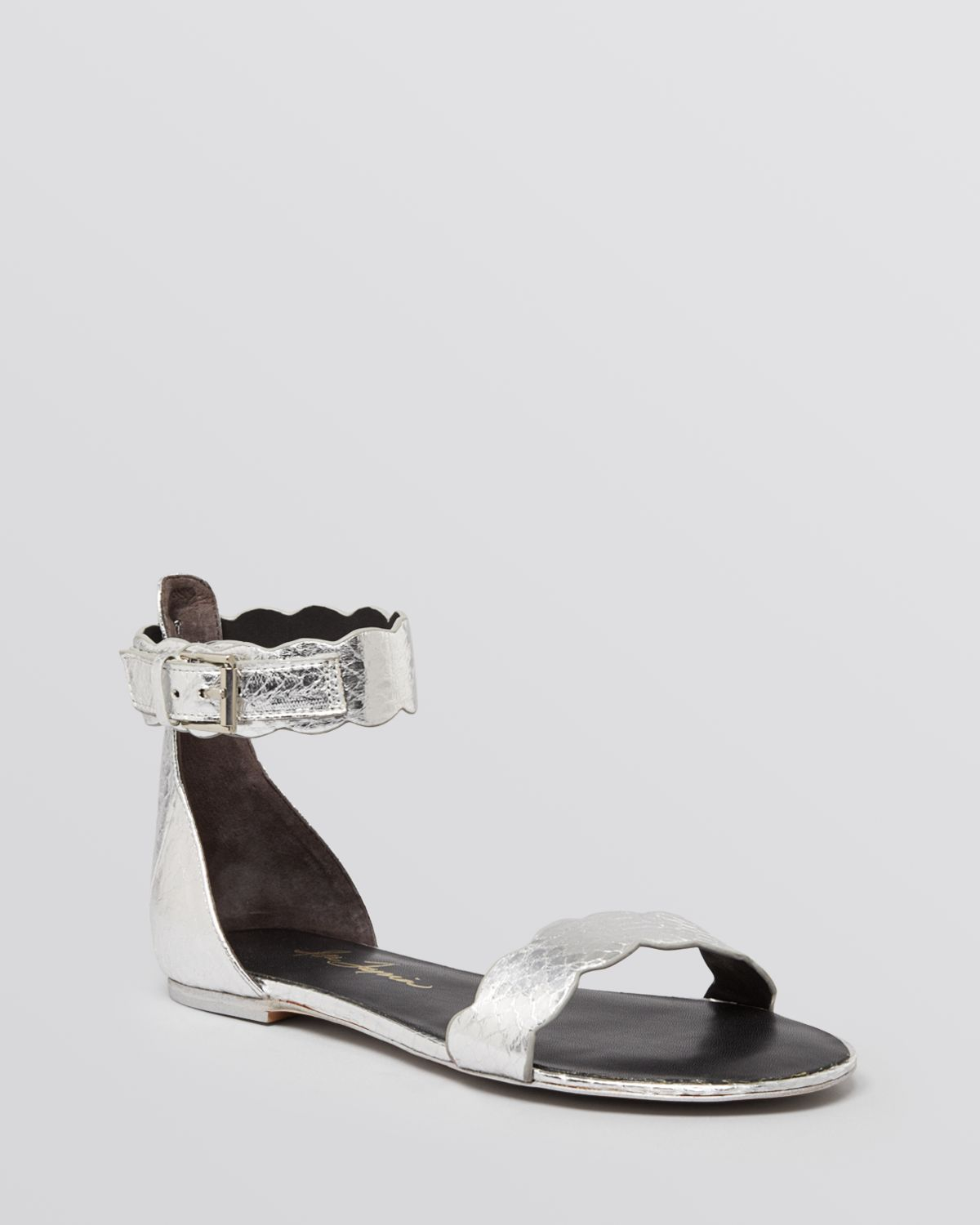 Gallery - Isa Tapia Ankle Strap Flat Sandals - Juanita In Metallic Lyst
