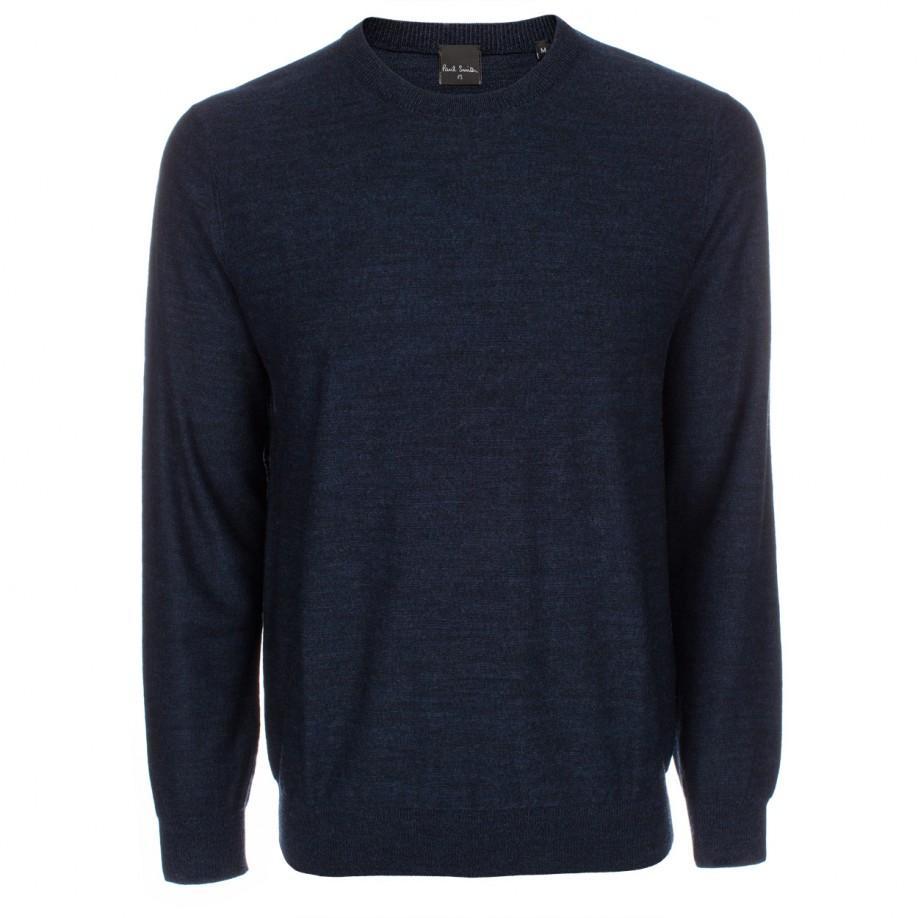 Paul smith Men's Navy Marl Merino Wool Sweater in Blue for Men | Lyst