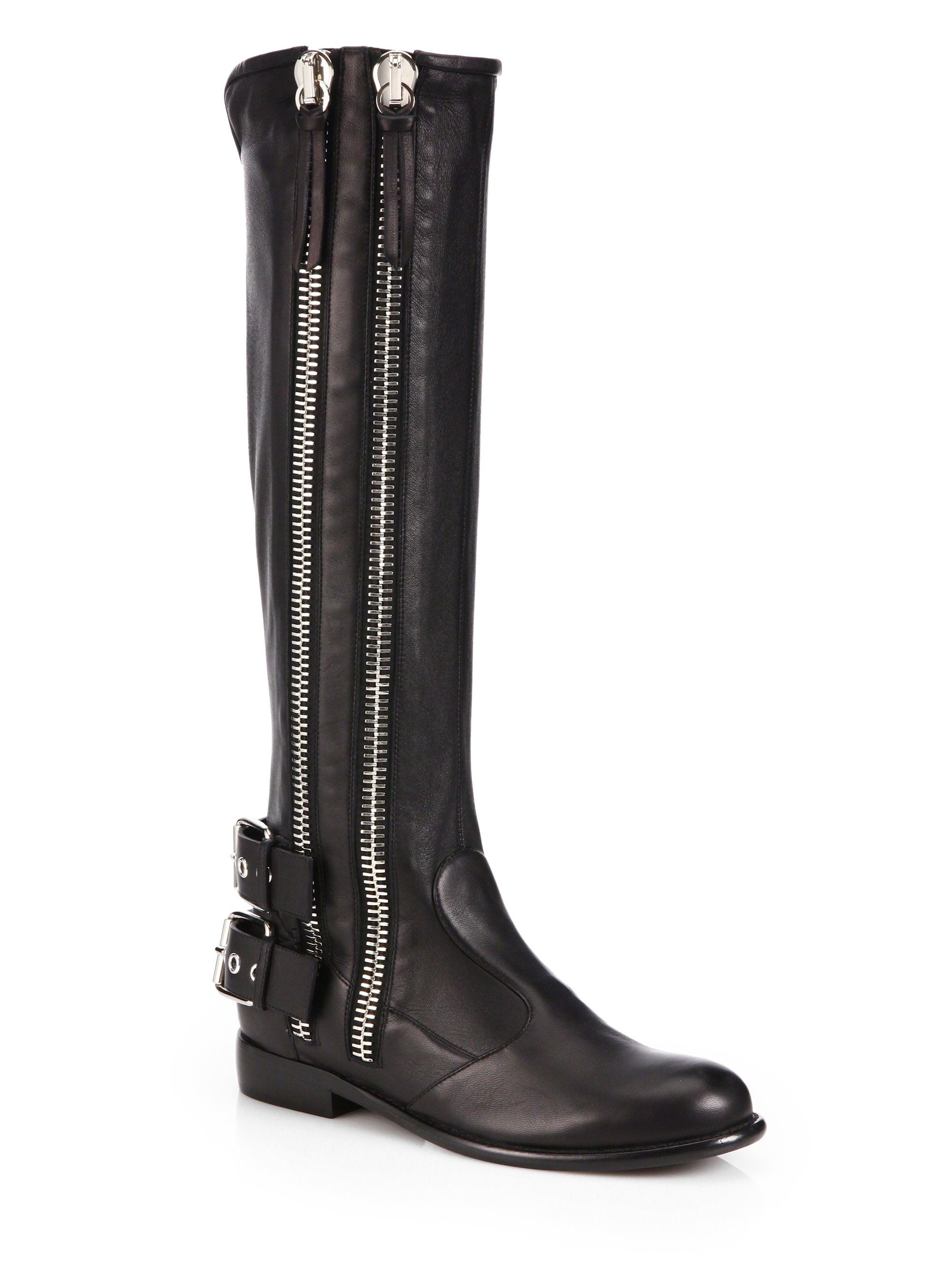 giuseppe zanotti leather zip trimmed moto boots in black