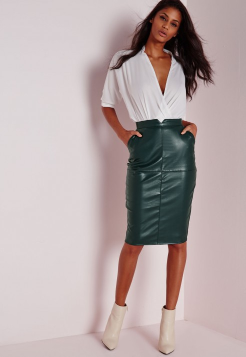 Missguided Back Split Faux Leather Midi Skirt Khaki in Green | Lyst