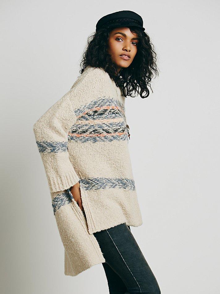 Free people Alpaca Fairisle Tunic Sweater in Natural | Lyst