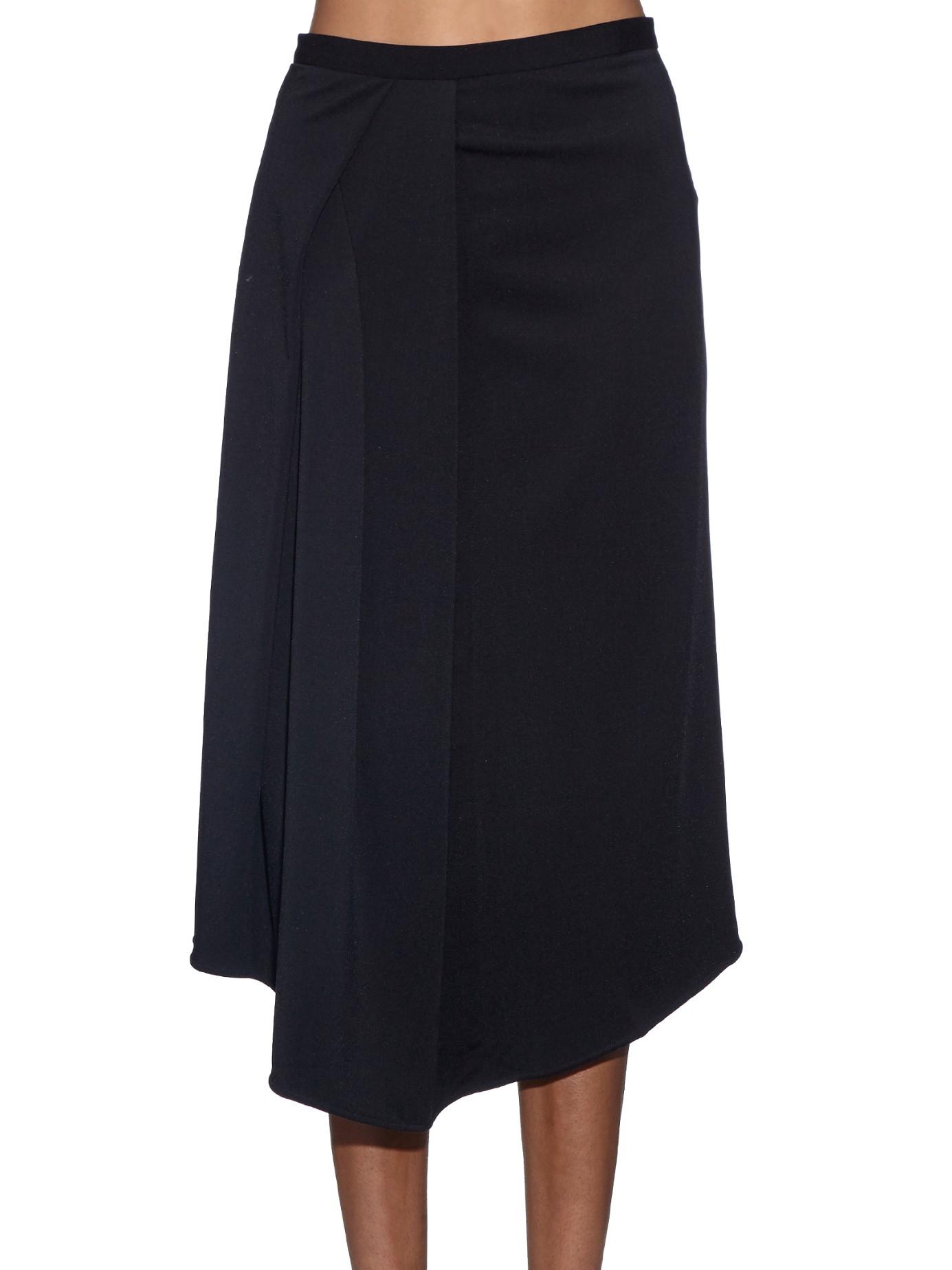 tibi filament draped side jersey midi skirt in black lyst