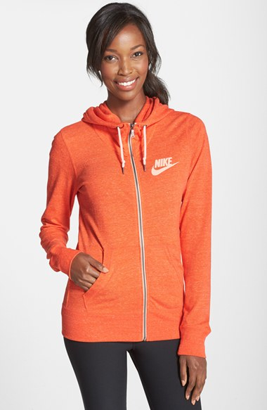 Nike Gym Vintage Zip Front Hoodie In Orange Electro