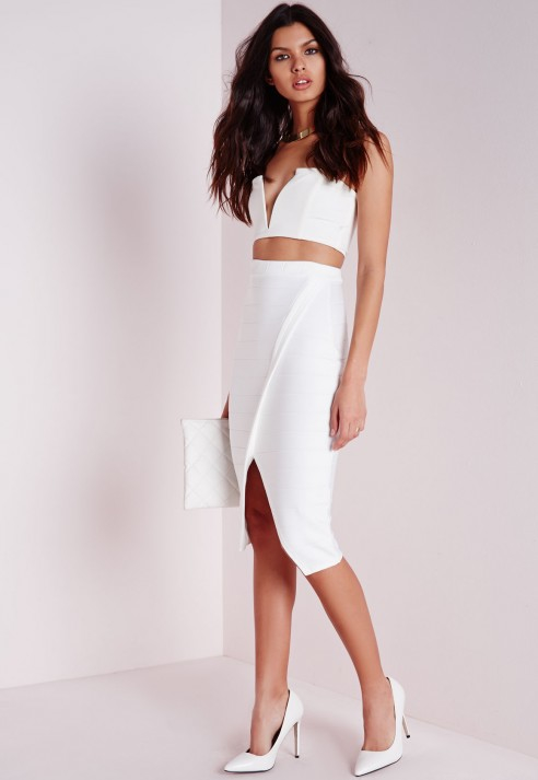 Missguided Bandage Split Midi Skirt White in White | Lyst