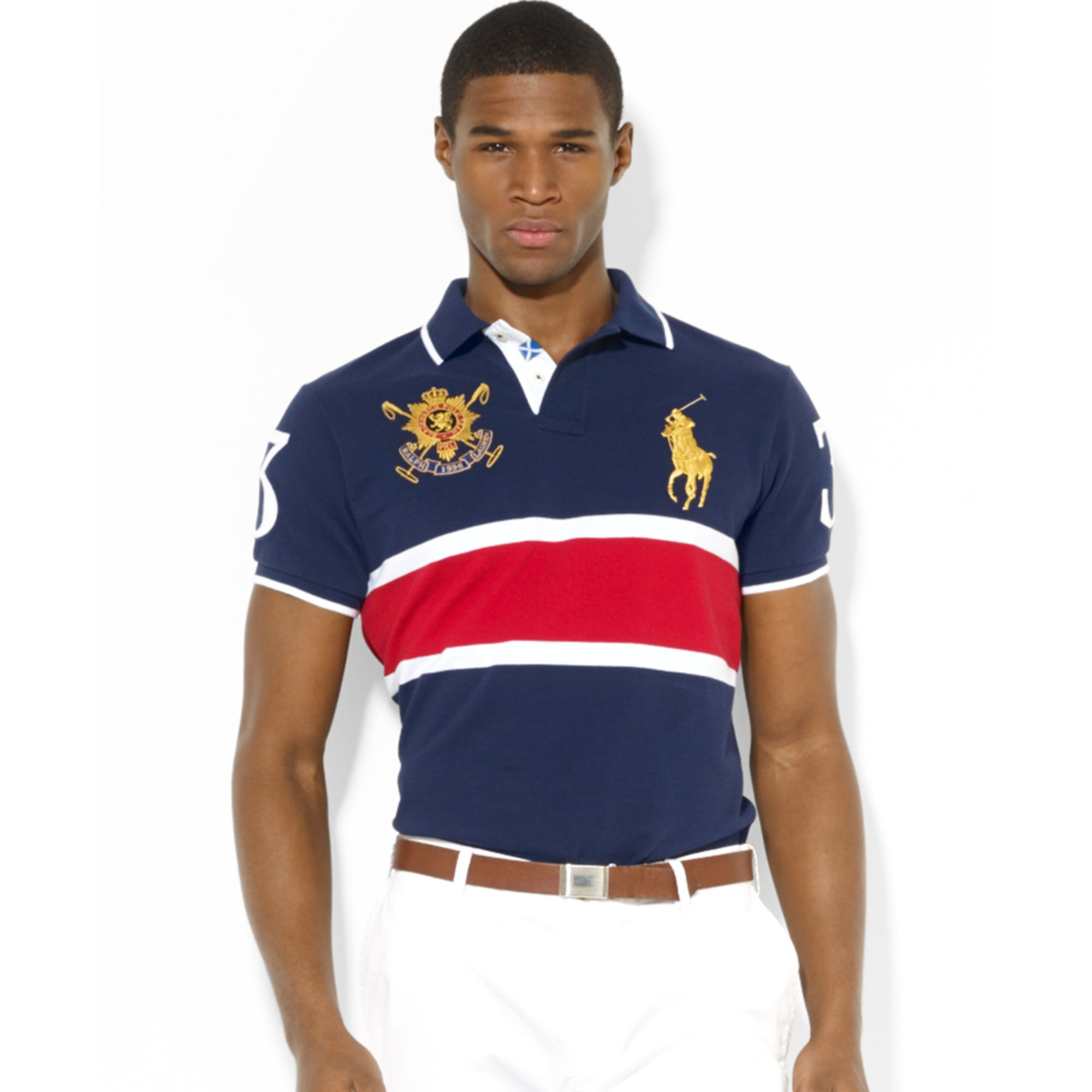fd722a269b1ad Ralph lauren Polo Black Watch Customfit Striped Polo in Blue for Men