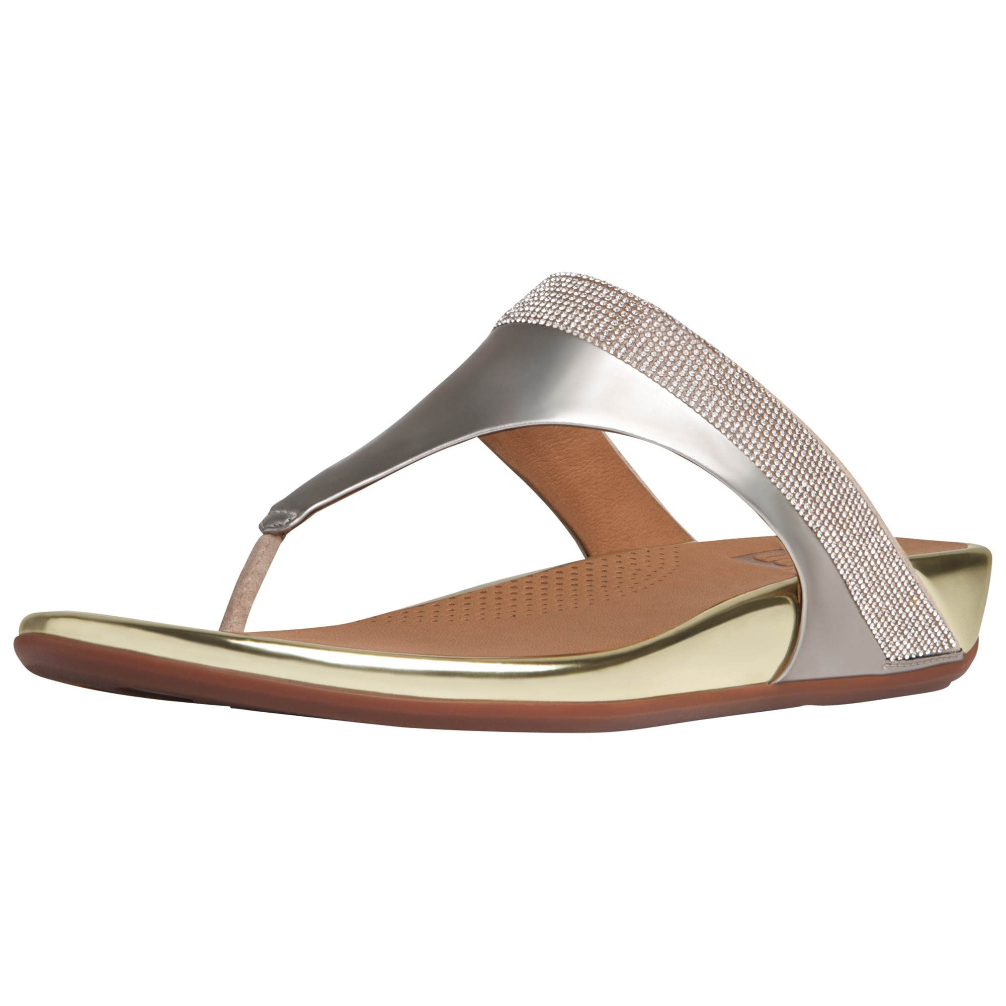 ea7338303c43ec Fitflop Banda Opul Leather Toe Post Sandals in Metallic - Lyst