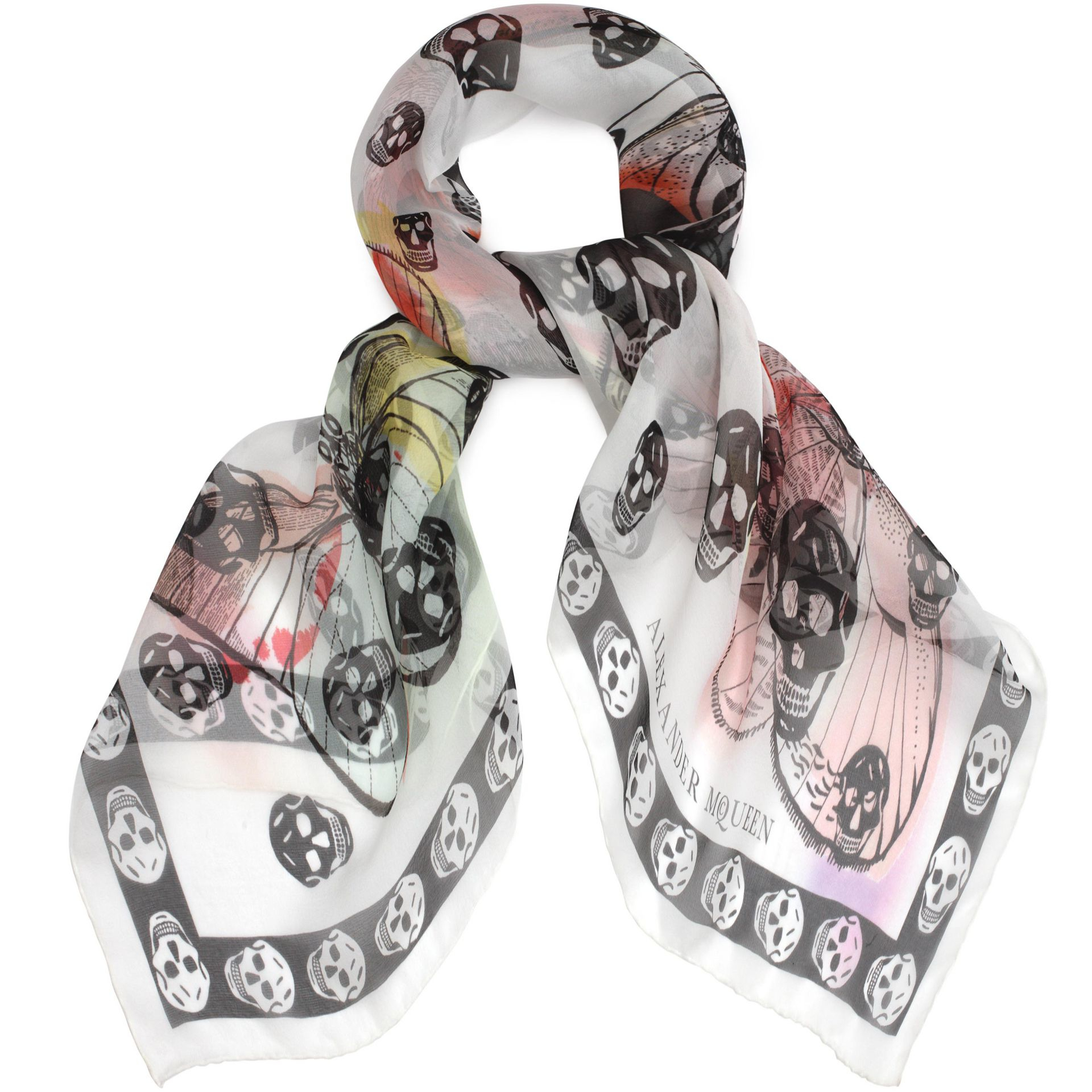 Lyst - Alexander Mcqueen Skull On Butterfly Scarf in White ...