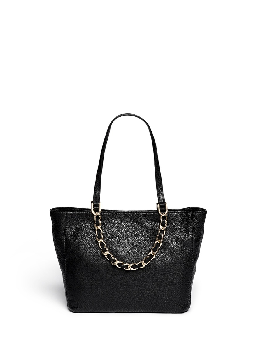 484eb0f6103f ... official store lyst michael kors harper medium chain leather tote in  black befa9 3e1fb