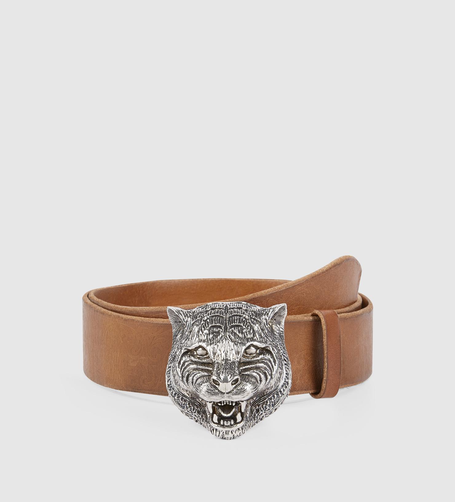 b34595de6c6 Lyst - Gucci Embossed Belt With Feline Buckle in Brown for Men