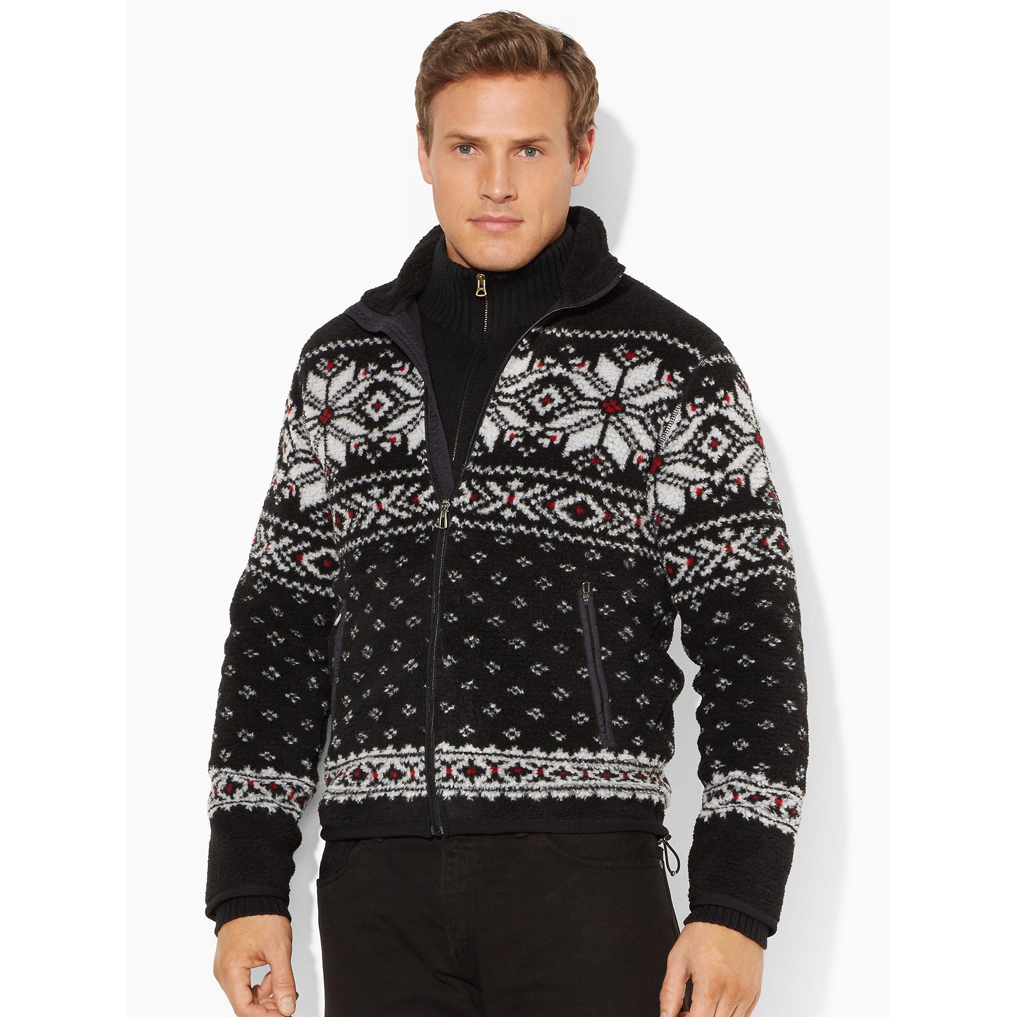 Ralph lauren Fair Isle Full-Zip Sweater in Black for Men | Lyst