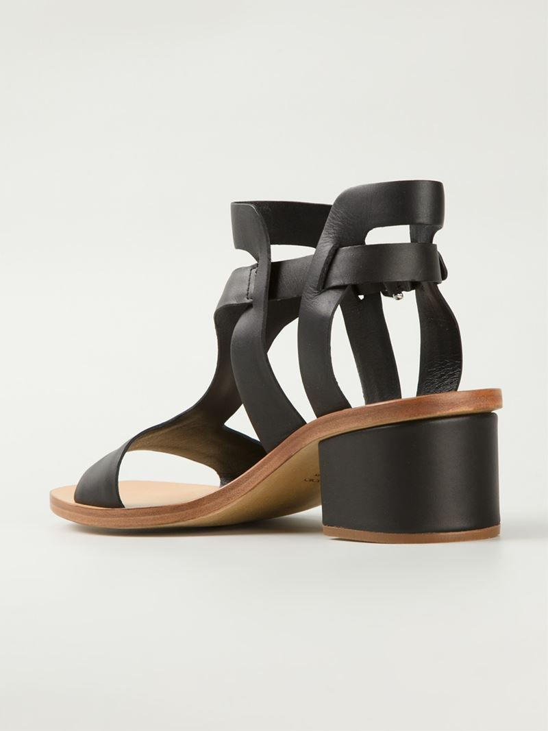 Lyst - Roberto del carlo Low Chunky Heel Sandals in Black