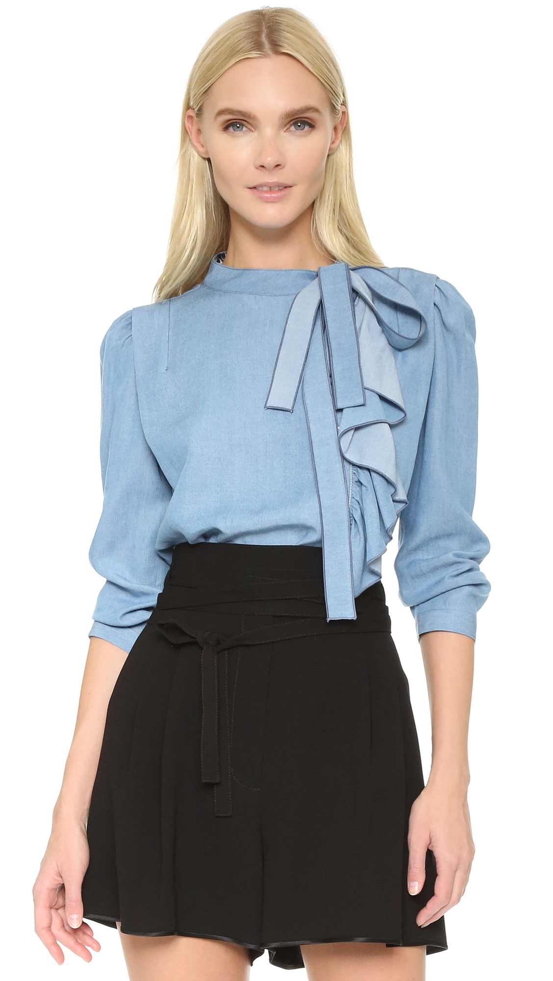About Blue Ruffle Shirt. Had your fill of battling in vain with uncomfortable clothes? Smart and dressy, blue Ruffle shirts are an ideal selection to look your best with a great outfit. Women and fashionistas are happy with the touch and loveliness of these blue Ruffle shirts. Choose the proper clothing size from the listed items to fit your needs.
