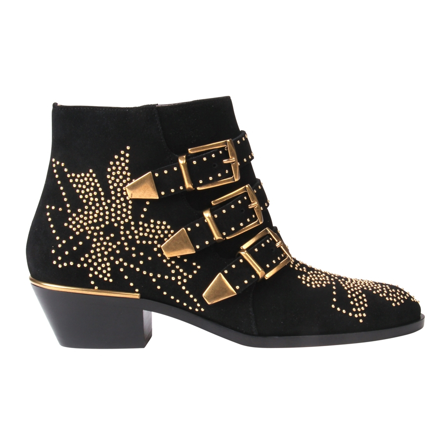 chlo 233 suzanna studded suede ankle boots in black lyst