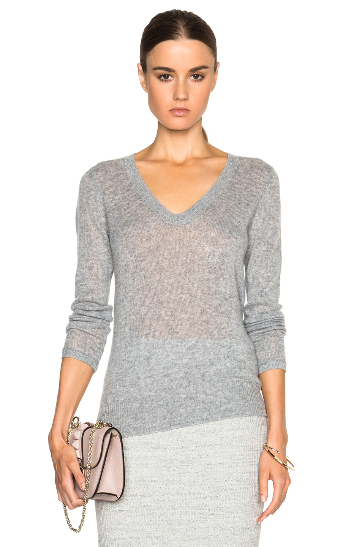Grey Cashmere V Neck Sweater 7