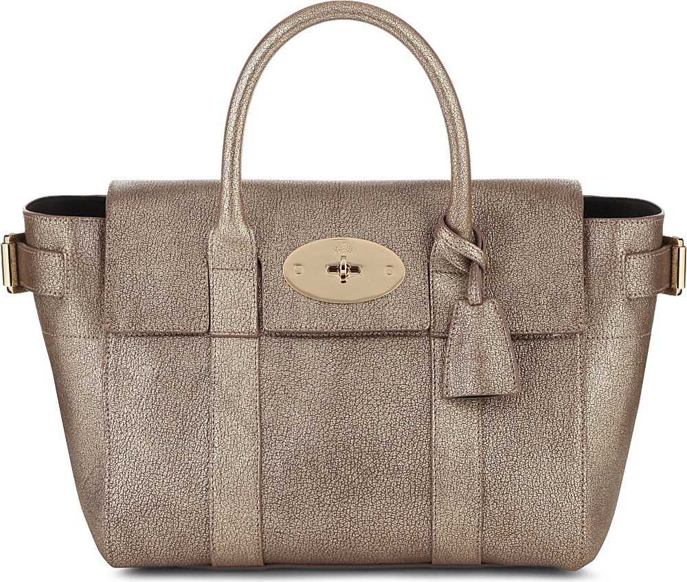 Mulberry Bayswater Buckle Small Metallic-goatskin Tote in Gray - Lyst 9752b59044245