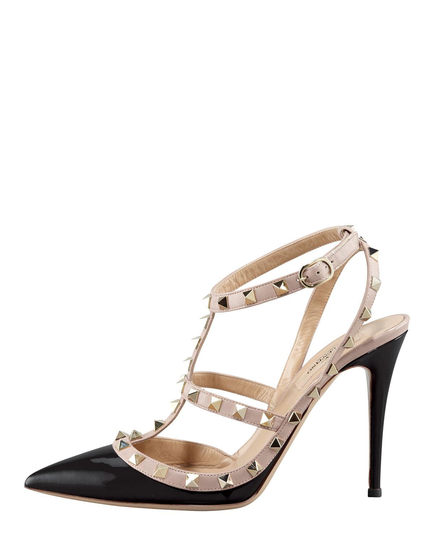 valentino rockstud patent sandal in black lyst