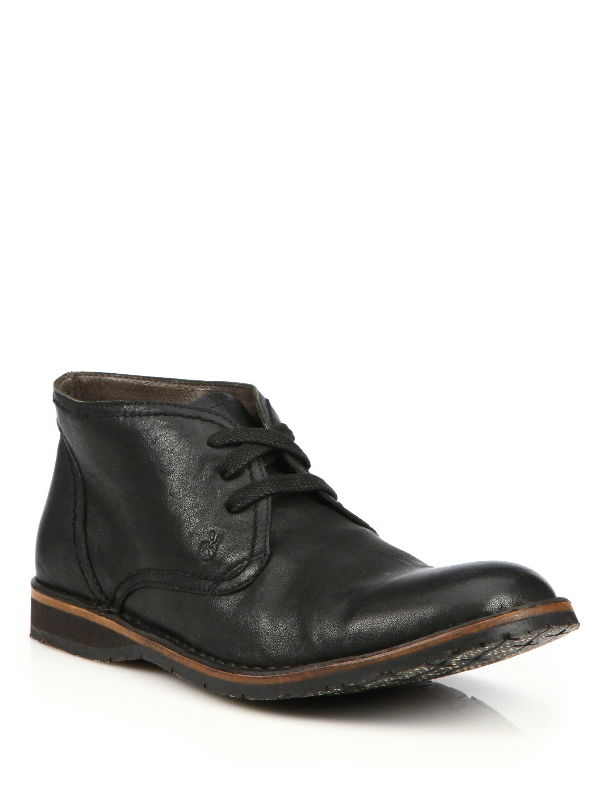 varvatos leather chukka boots in black for