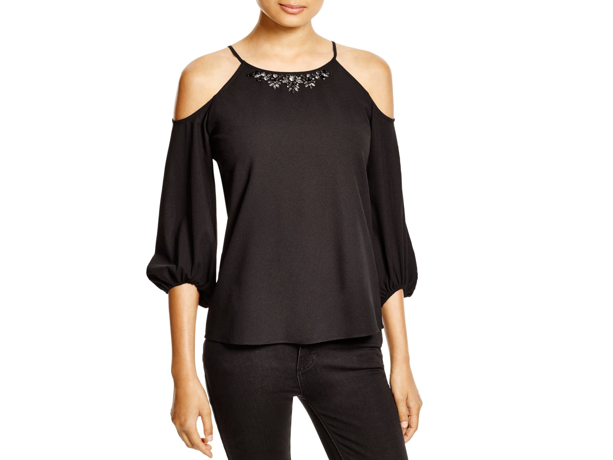 1722963eaaee0 Lyst - Cooper   Ella Kiara Embellished-neck Cold-shoulder Top in Black