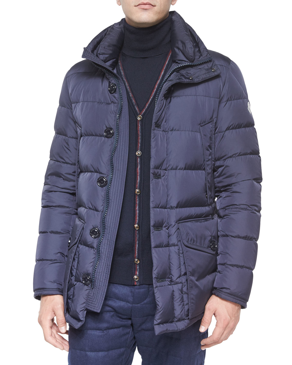 moncler puffer jacket navy blue