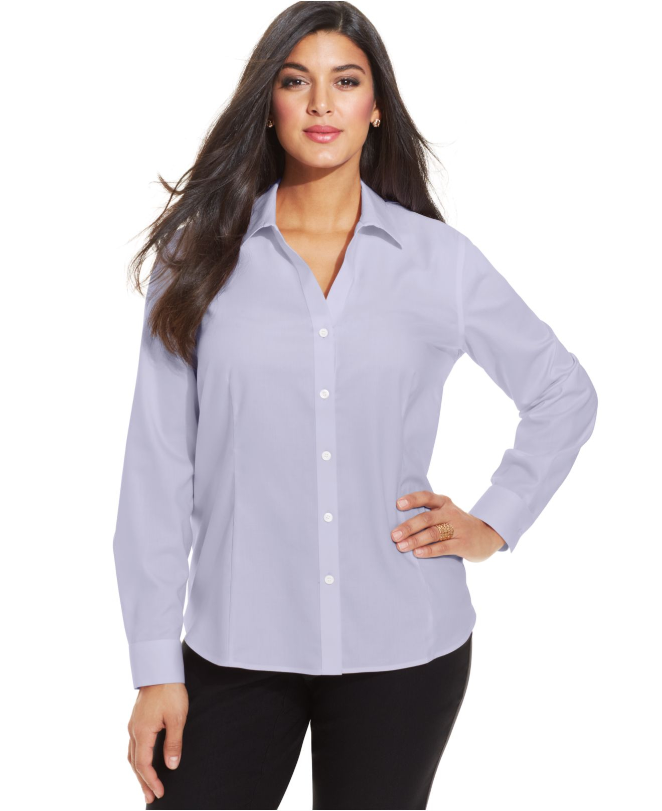 Jones new york collection plus size easy care long sleeve for New york and company dress shirts