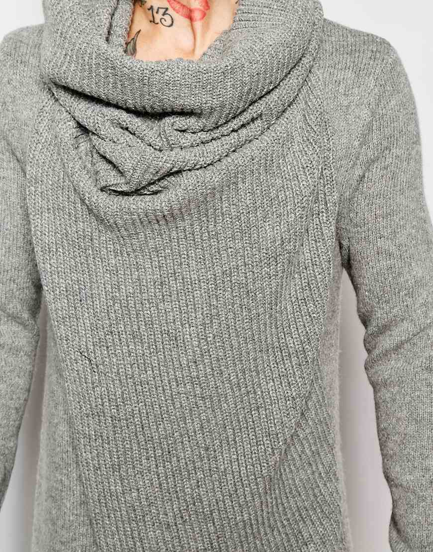 Asos Jumper With Oversized Cowl Neck in Gray for Men | Lyst