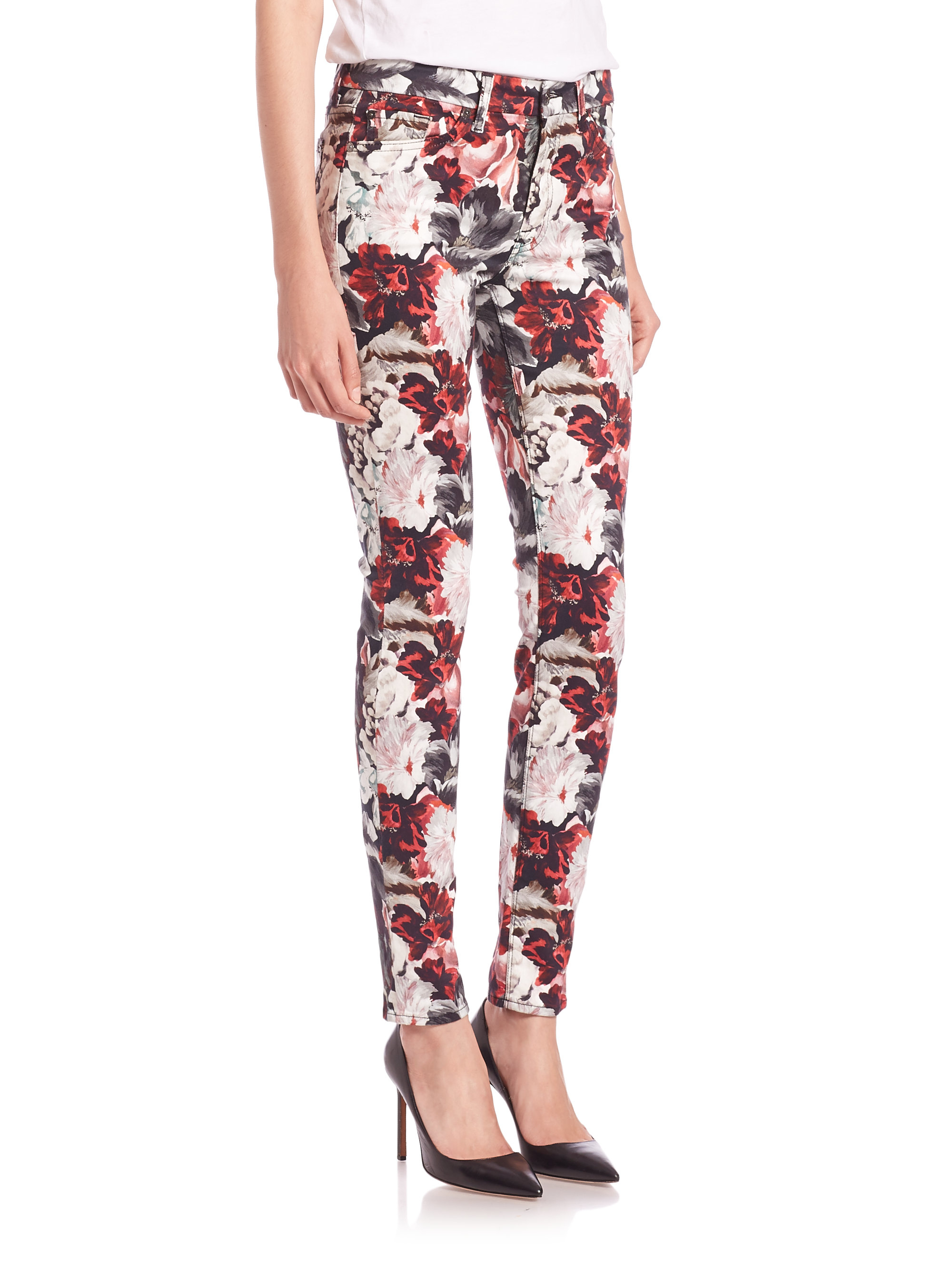 7 for all mankind Gallery Mid-rise Floral-print Skinny Jeans | Lyst