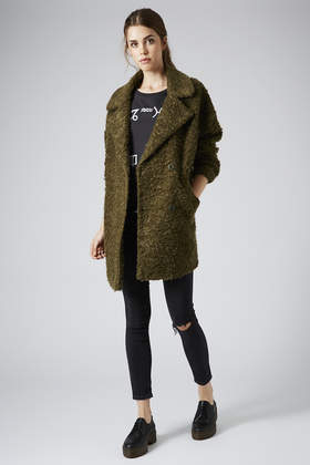 big discount sale casual shoes buy best TOPSHOP Green Slouchy Mohair Boyfriend Coat