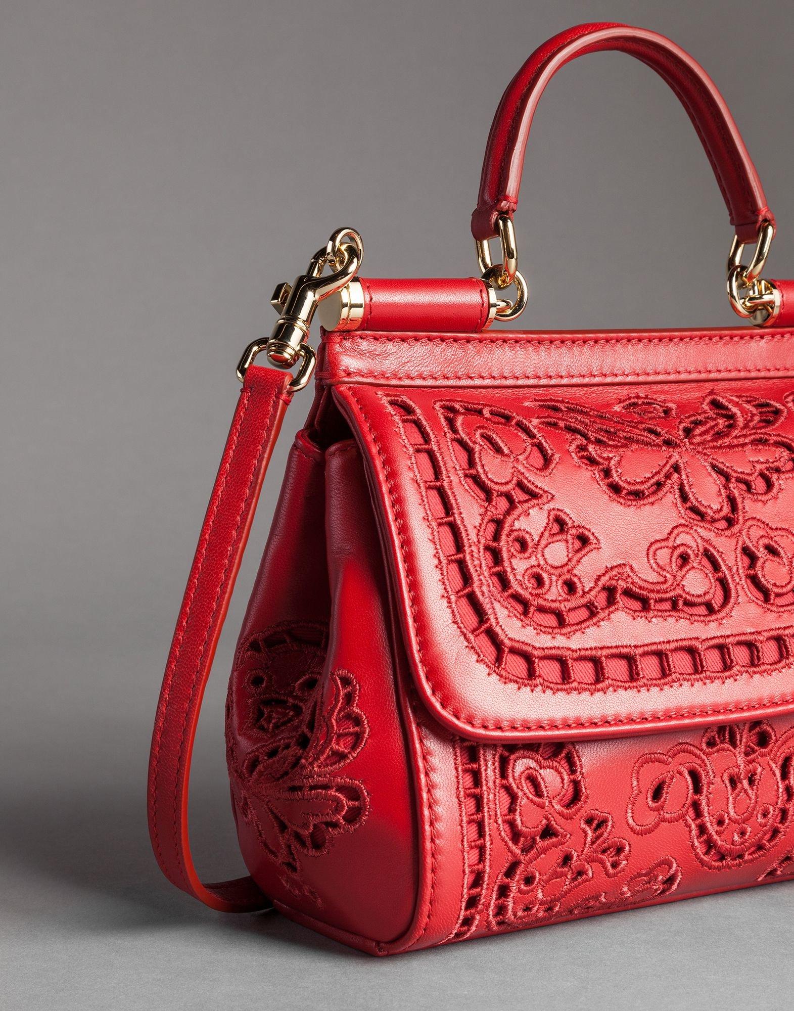 Lyst - Dolce   Gabbana Mini Sicily Bag Cutwork Napa Leather in Red dba36ab2cc105