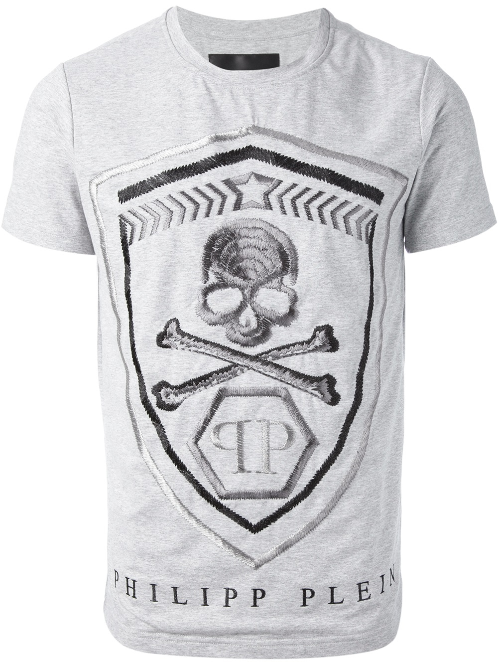 Lyst Philipp Plein Shield Embroidered T Shirt In Gray