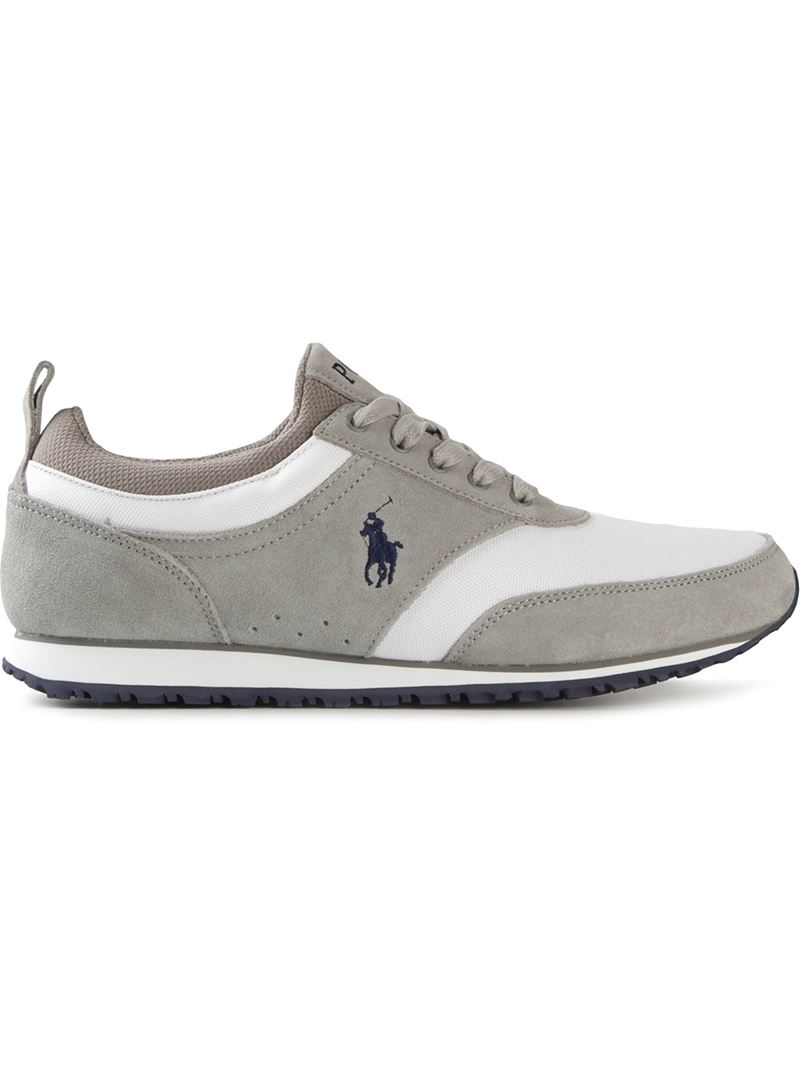 polo ralph panelled lace up sneakers in gray for