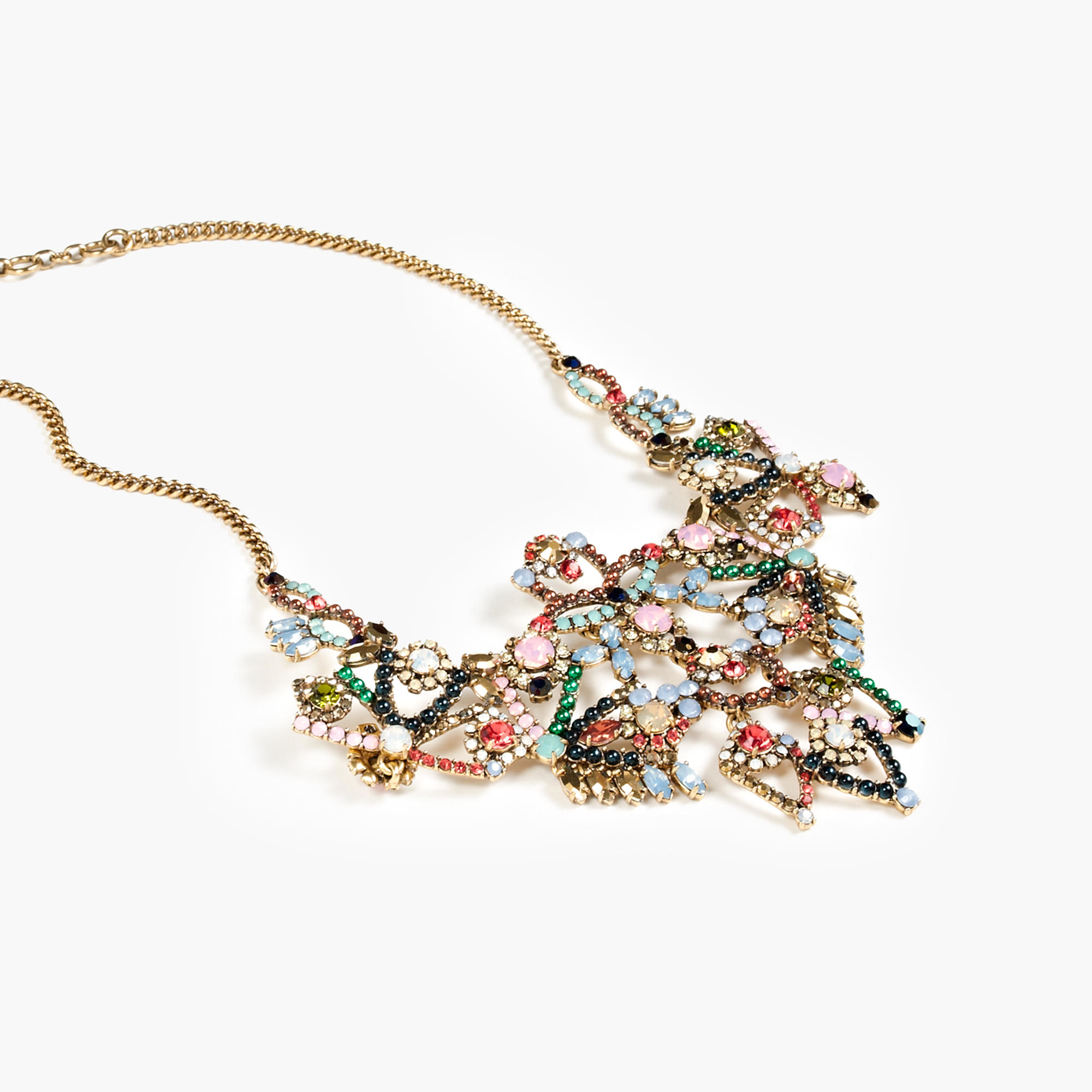 Crystal lace necklace in blue lyst for J crew jewelry 2015