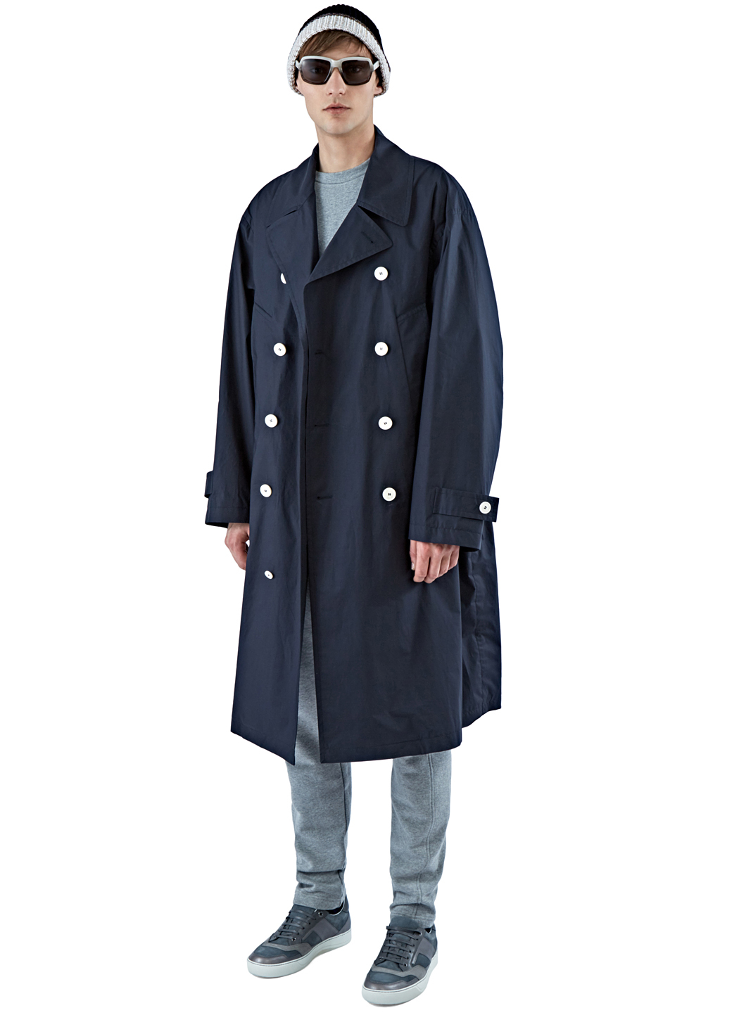 Marni Men S Long Double Breasted Trench Coat In Navy In