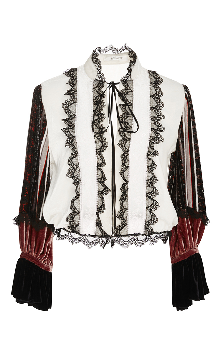 fa09a8200aa2c0 Lyst - Rodarte Ivory Silk Velvet And Lace Cinched Waist Blouse in White