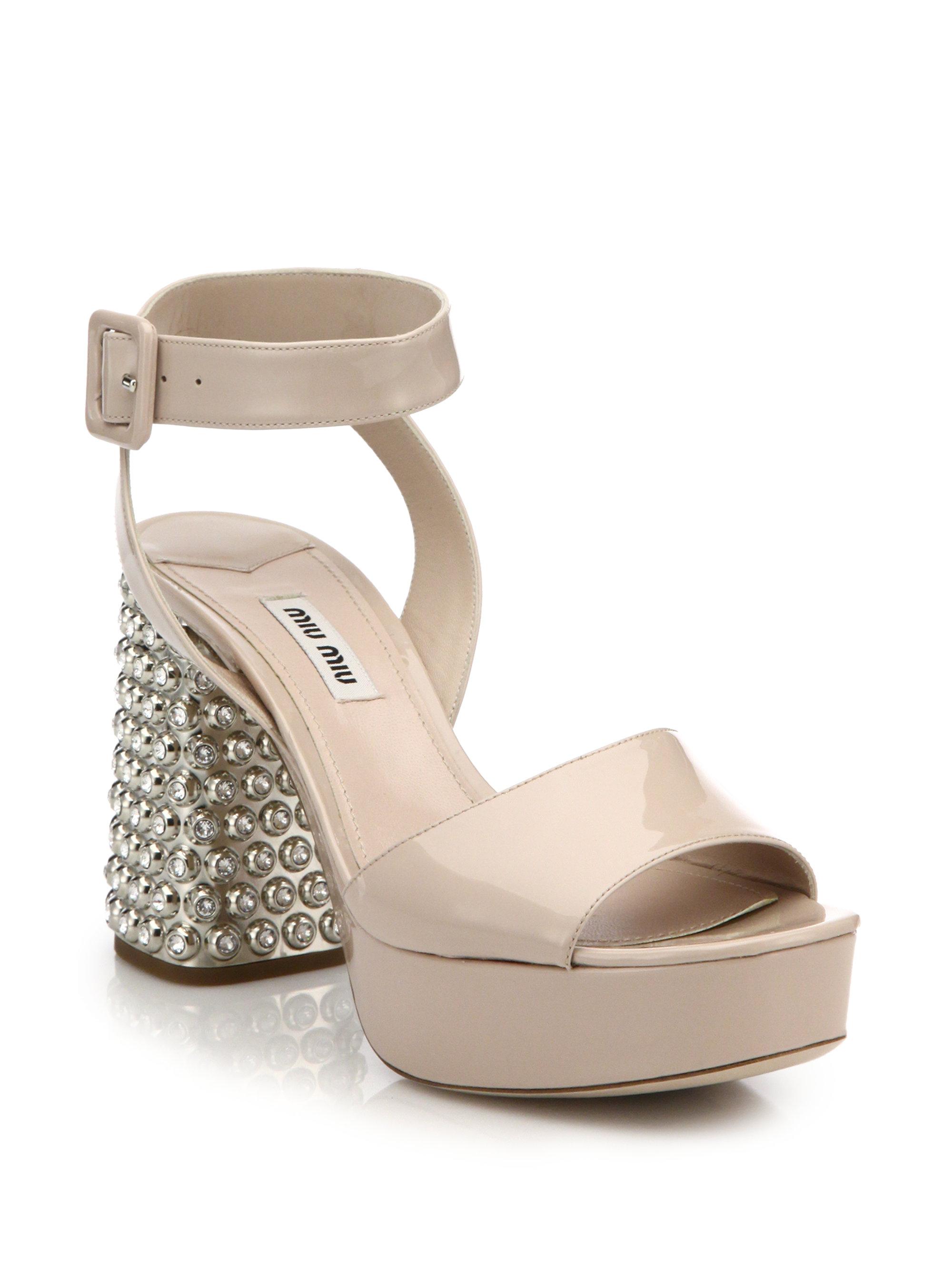 831d3b83a9 Miu Miu Crystal & Metal-heel Patent Leather Sandals in Pink - Lyst