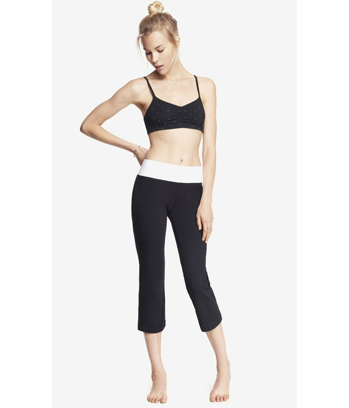 Express Cropped Wide Waistband Yoga Pant In Black