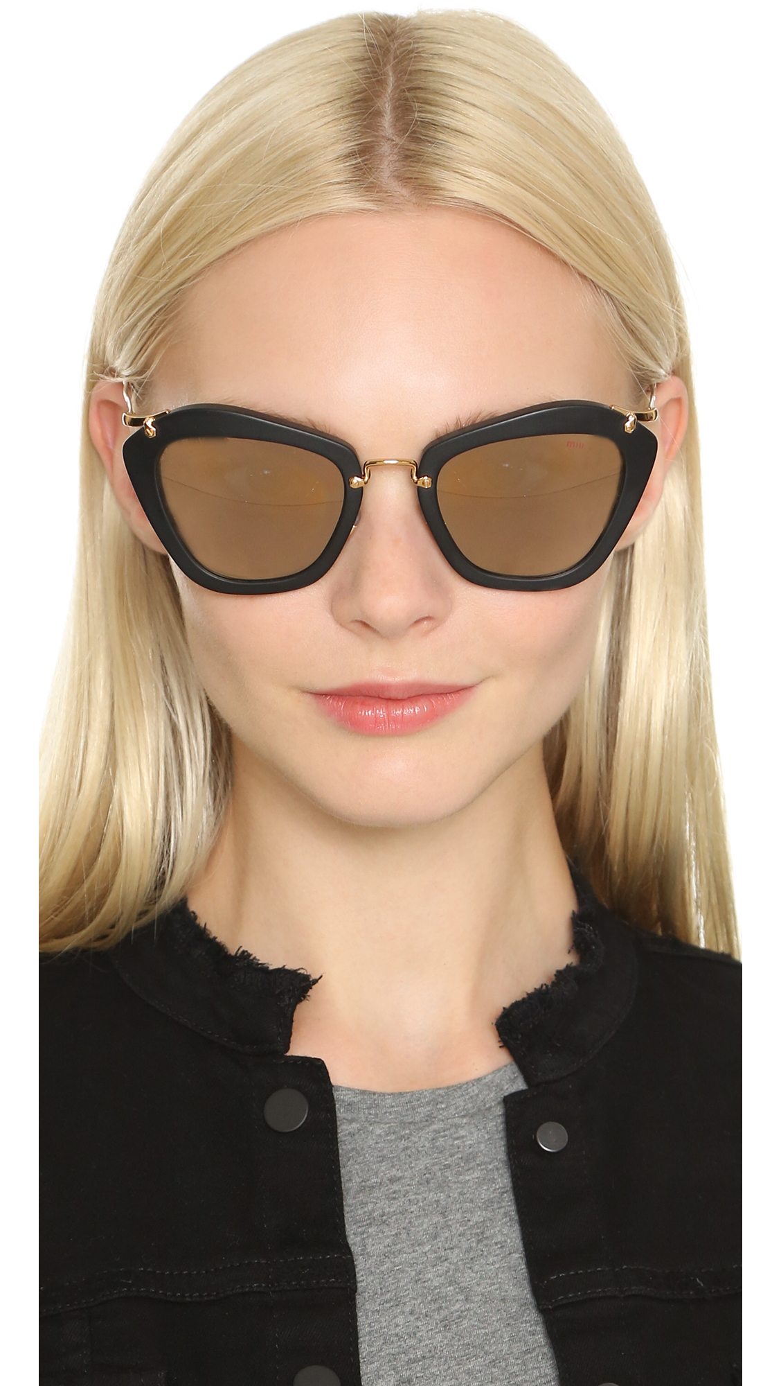 eb2e6f8d37d Lyst - Miu Miu Matte Cat Eye Sunglasses in Black