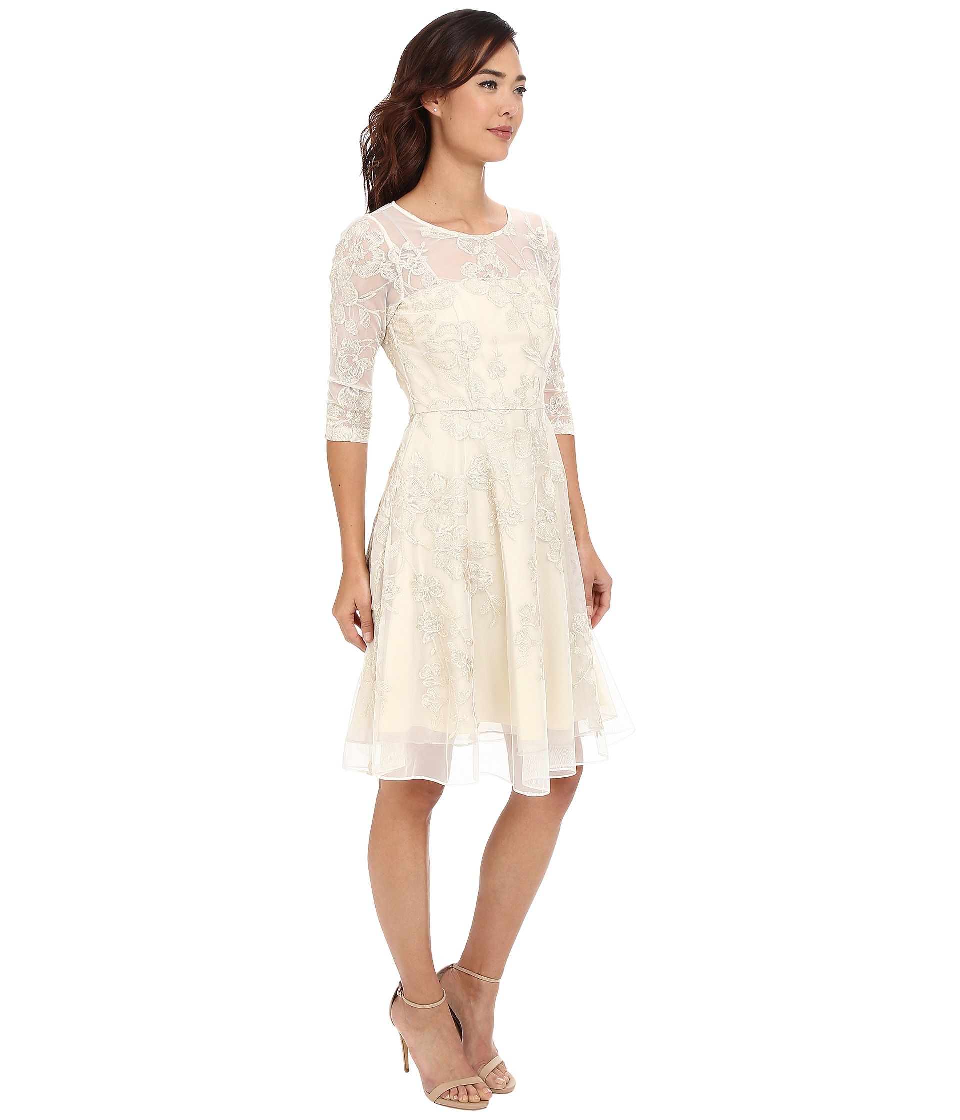 Tahari 3 4 Sleeve Lace Embroidered Fit Amp Flare In Metallic