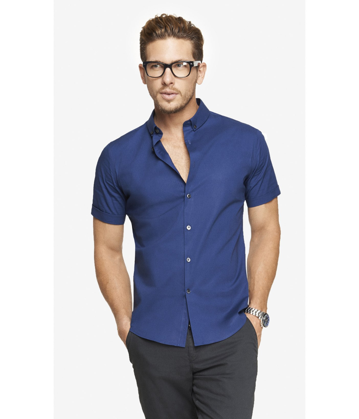 Express fitted short sleeve 1mx shirt in blue for men for Fitted short sleeve dress shirts