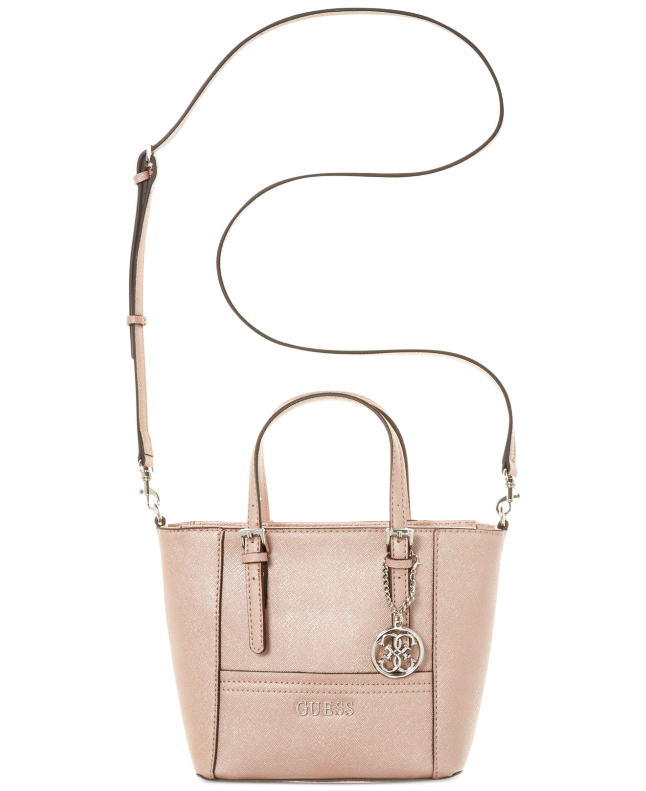 Lyst - Guess Delaney Petite Tote With Crossbody Strap in Pink 3e88facd087bc